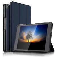 Trifold PU kožené polohovateľné puzdro na Asus ZenPad 3 8.0 Z581KL - tmavomodré