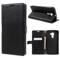 Standy PU kožené peňaženkové puzdro na BlackBerry DTEK60 - čierne