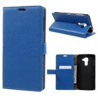 Standy PU kožené peňaženkové puzdro na BlackBerry DTEK60 - modré