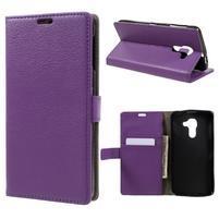 Standy PU kožené peňaženkové puzdro na BlackBerry DTEK60 - fialové
