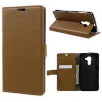 Standy PU kožené peňaženkové puzdro na BlackBerry DTEK60 - hnedé