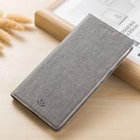 Vintage peňaženkové PU kožené puzdro pre BlackBerry Keyone - sivé
