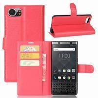 Graines knížkové PU kožené puzdro pre BlackBerry Keyone - červené