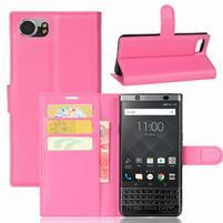 Graines knížkové PU kožené puzdro pre BlackBerry Keyone - rose