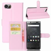 Graines knížkové PU kožené puzdro pre BlackBerry Keyone - ružové