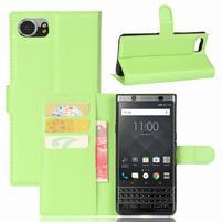 Graines knížkové PU kožené puzdro pre BlackBerry Keyone - zelené