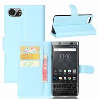 Graines knížkové PU kožené puzdro pre BlackBerry Keyone - svetlomodré