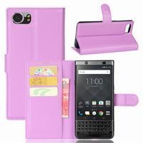 Graines knížkové PU kožené puzdro pre BlackBerry Keyone - fialové