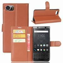 Graines knížkové PU kožené puzdro pre BlackBerry Keyone - hnedé