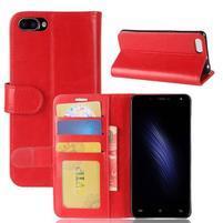 Wallet PU kožené puzdro na Cubot Rainbow 2 - červené