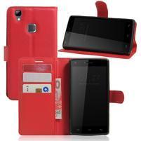 Wallet PU kožené puzdro na Doogee X5 Max/X5 Max Pro - červené