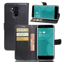 Wallet PU kožené puzdro na Doogee Y6 - čierne
