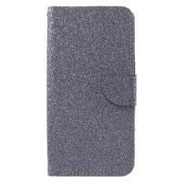 Trblietavé peňaženkové puzdro na Doogee Y6 - sivé