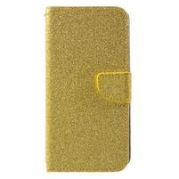 Trblietavé peňaženkové puzdro na Doogee Y6 - zlaté
