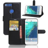 Litch PU kožené zapínacie puzdro na Google Pixel XL - čierne