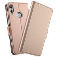 Leas PU kožené peňaženkové puzdro na mobil Honor 10 Lite - rosegold