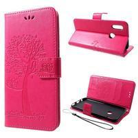 Tree PU kožené peňaženkové puzdro na Honor 10 Lite - rose
