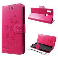 Butterfly PU kožené peňaženkové puzdro na Honor 10 Lite - rose