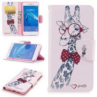 Emotive peňaženkové puzdro pre mobil Huawei Nova Smart - žirafa