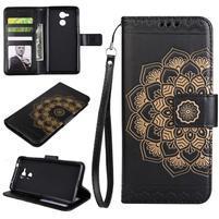 Lotus PU kožené puzdro s pútkom na Honor 6C - čierne