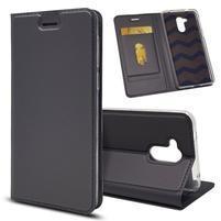 Magnetic PU kožené puzdro na Honor 6C - čierne