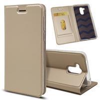 Magnetic PU kožené puzdro na Honor 6C - zlaté
