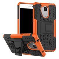 Outdoor odolný obal zo stojanom pre mobil Huawei Nova Smart - oranžový