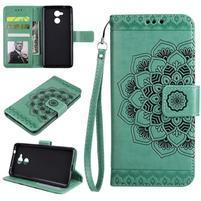 Lotus PU kožené puzdro s pútkom na Honor 6C - zelené