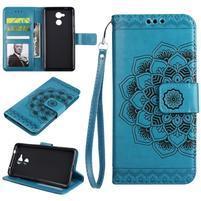 Lotus PU kožené puzdro s pútkom na Honor 6C - modré