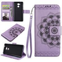Lotus PU kožené puzdro s pútkom na Honor 6C - fialové