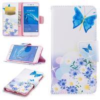 Emotive peňaženkové puzdro pre mobil Huawei Nova Smart - modrý motýľci