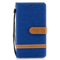 Jean textilné/PU kožené puzdro na Honor 6X - svetlomodré