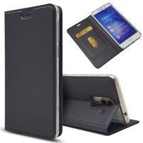 Magnetic PU kožené peňaženkové puzdro na Honor 6X - čierne