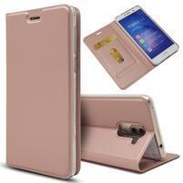 Magnetic PU kožené peňaženkové puzdro na Honor 6X - ružovozlaté