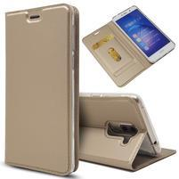 Magnetic PU kožené peňaženkové puzdro na Honor 6X - zlaté