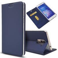 Magnetic PU kožené peňaženkové puzdro na Honor 6X - modré
