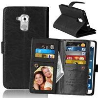 Wallet PU kožené peňaženkové puzdro na Honor 7 Lite - čierne