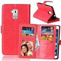 Wallet PU kožené peňaženkové puzdro na Honor 7 Lite - červené