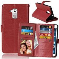 Wallet PU kožené peňaženkové puzdro na Honor 7 Lite - hnedé
