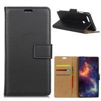 Wallet PU kožené puzdro na Honor 7A a Huawei Y6 Prime (2018) - čierne