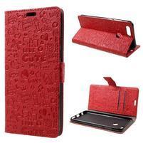 Cartoo PU kožený obal na mobil Honor 7X -  červené