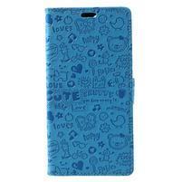 Cartoo PU kožený obal na mobil Honor 7X -  modré