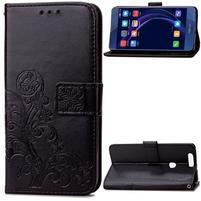 Štvorlístok PU kožené puzdro na mobil Honor 8 - čierne