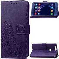 Štvorlístok PU kožené puzdro na mobil Honor 8 - fialové