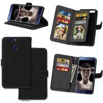 Wallet PU kožené puzdro s 9 priehradkami na Honor 8 Pro - čierne