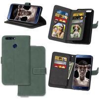 Wallet PU kožené puzdro s 9 priehradkami na Honor 8 Pro - zelené