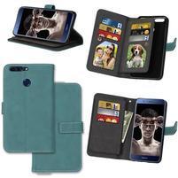 Wallet PU kožené puzdro s 9 priehradkami na Honor 8 Pro - modré