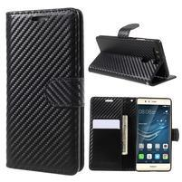 Carbon PU kožené zapínacie puzdro na Huawei P9 - čierne