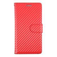 Carbon PU kožené zapínacie puzdro na Huawei P9 - červené