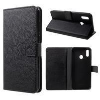 Litch PU kožené peňaženkové puzdro na mobil Honor Play - čierne
